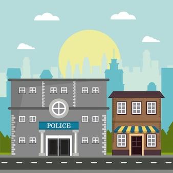 Städtischer stadthintergrund des police store shop building boards