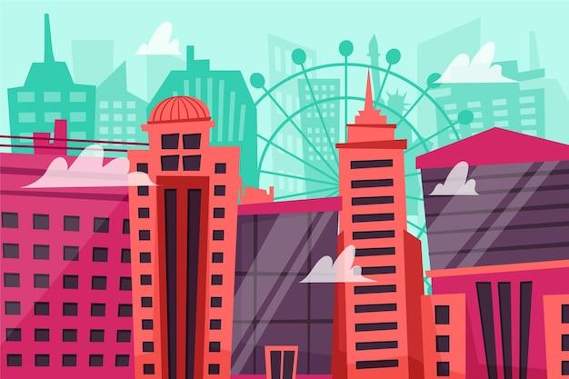 Städtischer stadthintergrund für videokonferenz Kostenlosen Vektoren