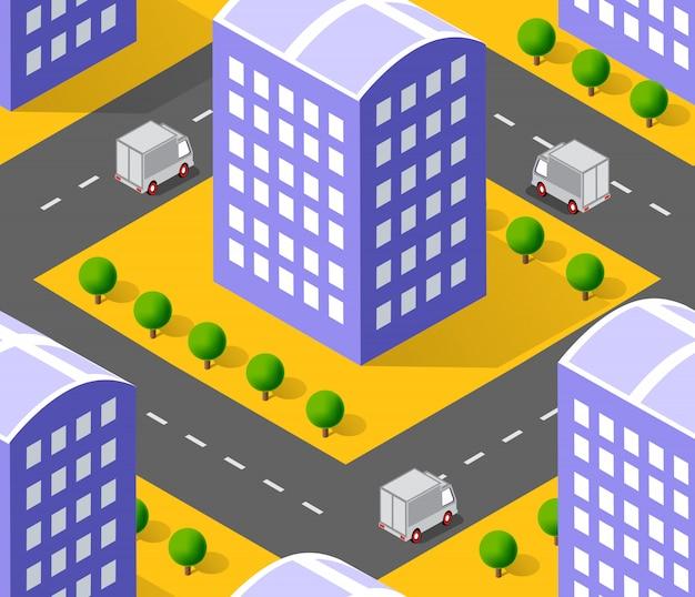 Städtisches isometrisches gebiet mit rasenflächen