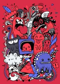 Städtisches muster des abstrakten schmutzes mit monstercharakter, superzeichnung in der graffitiart. vektor-illustration