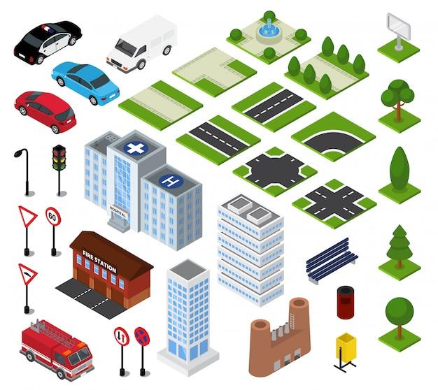 Städtisches stadtbild des isometrischen vektors der stadt mit gebäudearchitektur oder bau in der downcity-straße