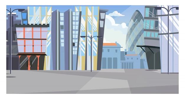 Städtisches stadtbild mit illustration der hohen gebäude