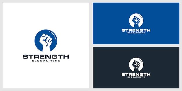 Stärke logo design vorlage Premium Vektoren
