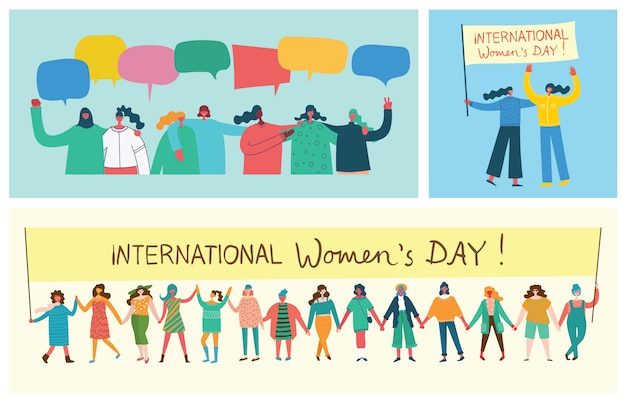 Stärker zusammen. feminines konzept und frauenermächtigungsdesign für banner und poster im flachen design