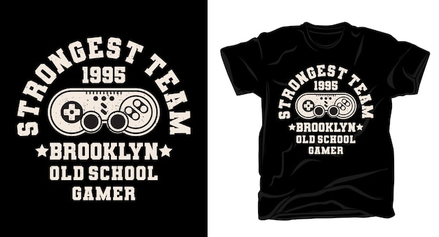Stärkste teamtypografie mit gamecontroller-t-shirt-design