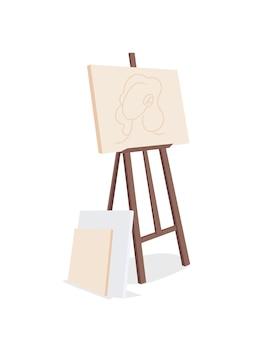 Staffelei mit leinwand, die halbflaches farbvektorobjekt malt. bild erstellen. kunstmaterial. kreatives hobby. zeichnungspraxis isoliert moderne cartoon-stil illustration für grafikdesign und animation