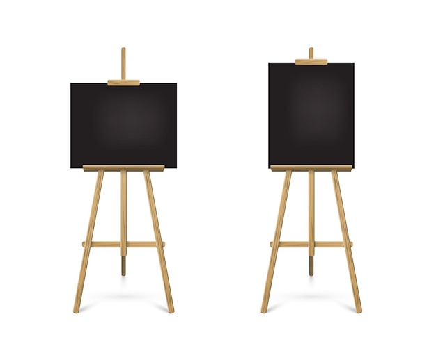 Staffelei stehend mit schwarzen brettern auf holzstativ für kunstmalerei, zeichnung oder ankündigung