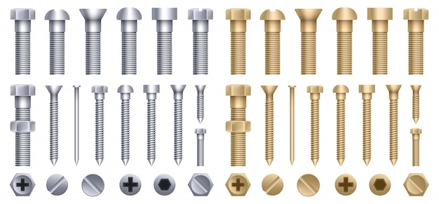Stahl messingschraube, metallschraube, eisennägel, nieten.