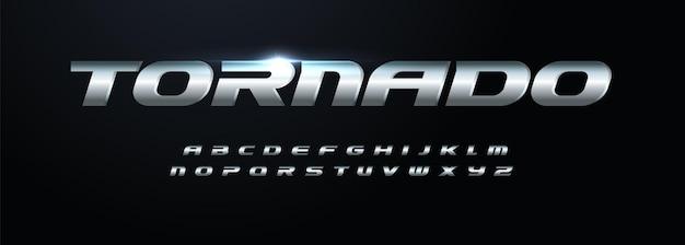 Stahl modernes alphabet fette kursive eisenschrift aus rostfreiem metall für dynamische logo-schlagzeilensport