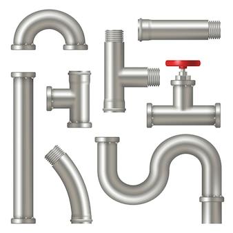 Stahl röhren. realistisches bild von wasserrohrsystemen mit kränen, die fabrik-öl- oder gaspipelines vektor-set gekrümmt haben. rohrmetallstahl, rohrleitungsinstallationsillustration