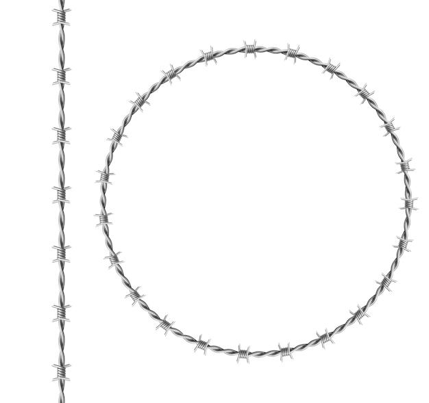 Stahl-stacheldraht-satz, kreisrahmen aus verdrilltem draht mit widerhaken lokalisiert auf weißem hintergrund. realistische nahtlose grenze der metallkette mit scharfen dornen für gefängniszaun, militärische grenze