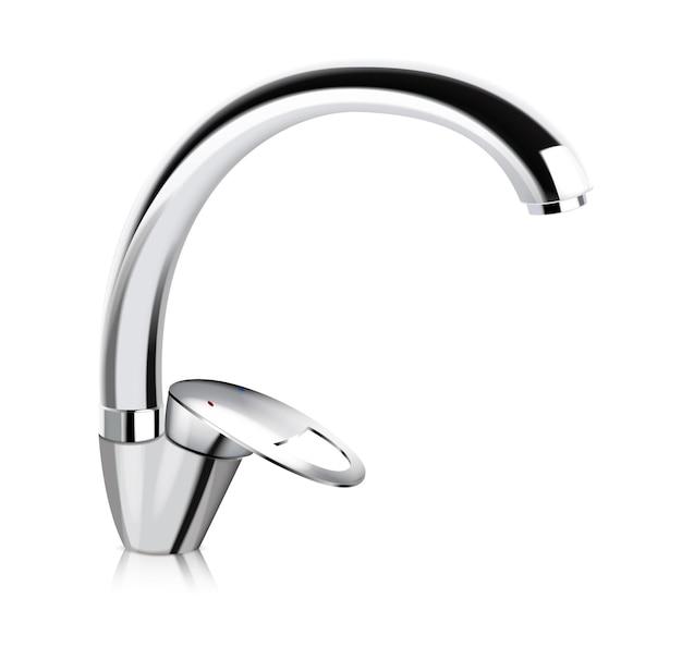Stahl verchromte küche wasserversorgung wasserhahn isoliert