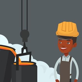 Stahlarbeiter im helm bei der arbeit in der gießerei.