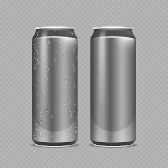 Stahldosen. aluminiumflaschen für bier, limonade oder soda oder energy drink. metallpaket mit wassertropfen realistisches modell. stahlflasche bier oder soda, wasser in aluminium silber kann illustration