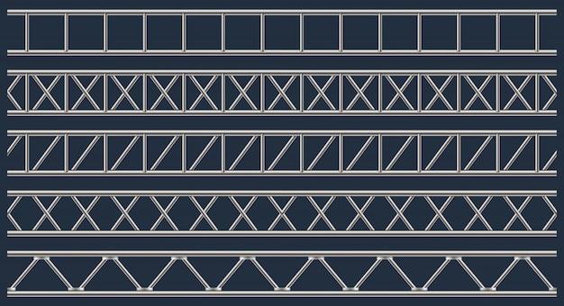 Stahlfachwerkträger, chromrohre, metall.