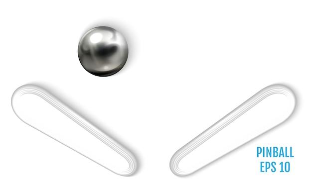 Stahlflipperball auf realistischem vektor der weißen oberfläche
