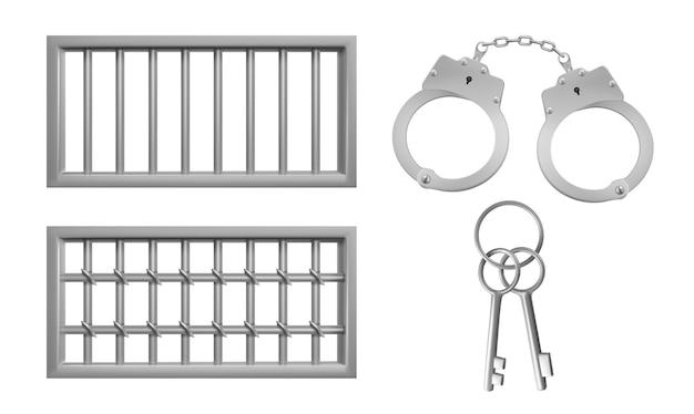 Stahlgitter für gefängnisfenster, handschellen und schlüssel.