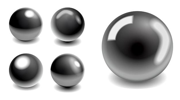 Stahlmetallkugeln oder silberkugeln schatten oder globus weltkarte stahlmetallkugelreflexionen