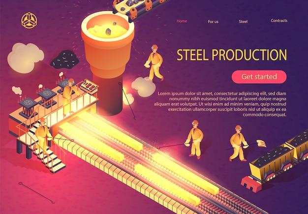 Stahlproduktion banner mit metallurgie-prozess