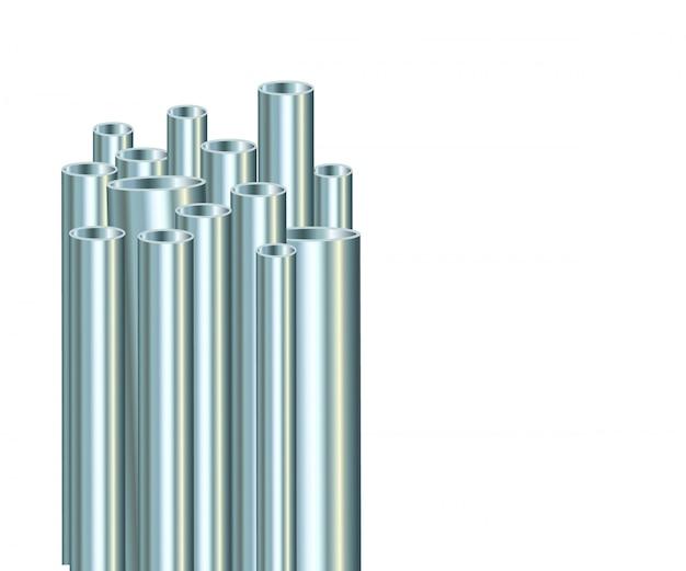 Stahlrohre auf einem weißen hintergrund. industrielles metallrohr.