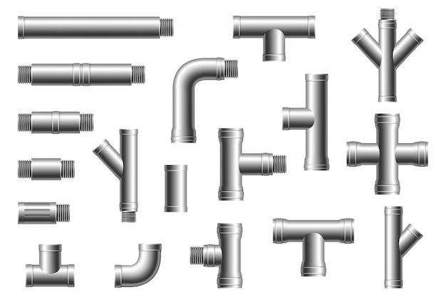 Stahlrohrverschraubungen. wasser-, kraftstoff- oder gasversorgungssystem, pipeline der ölraffinerieindustrie, verschraubte abschnitte des hauskanals, teile isoliert
