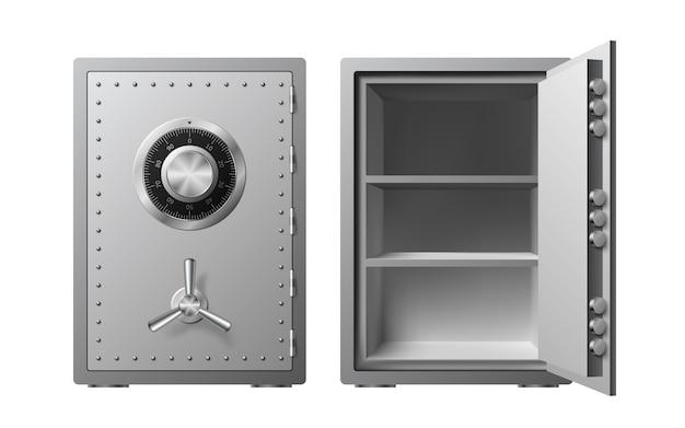 Stahltresor mit zahlenschloss isoliert. gepanzerte box. zuverlässiger datenschutz. schutz personenbezogener daten.