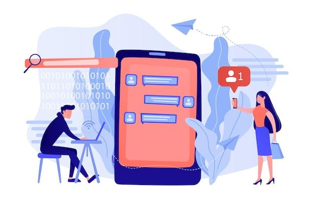 Stalker mit laptop steuert und schüchtert das opfer mit nachrichten ein. cyberstalking, streben nach sozialer identität, online-konzept für falsche anschuldigungen. isolierte illustration des rosa korallenblauvektors