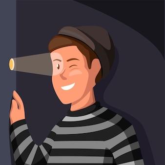 Stalker verbrechen aktivität. diebmann tragen streifenhemd, das von lochwand in karikaturillustration schaut