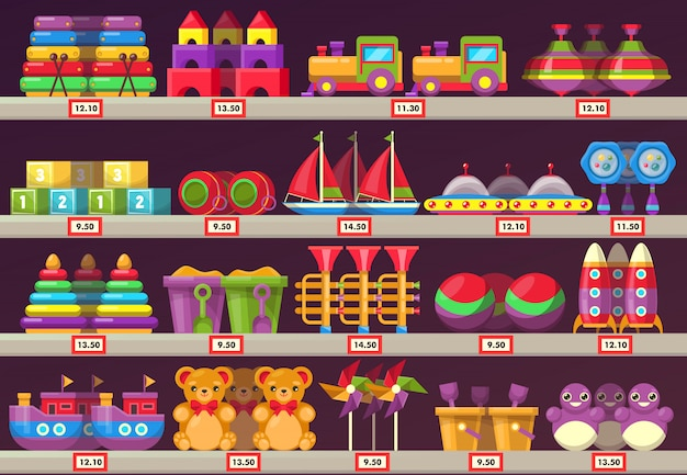 Stall oder schaufenster mit kindern oder kinderspielzeug