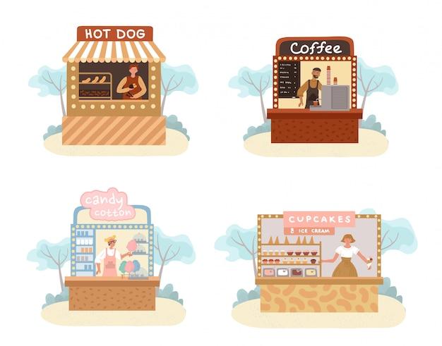 Stall street essen, trinken, süßwarenmarkt set