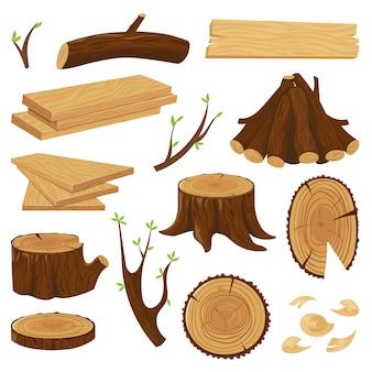 Stamm aus holz. staplungsbrennholz, protokollierungsbaumstämme und stapel des hölzernen klotz lokalisierten satzes