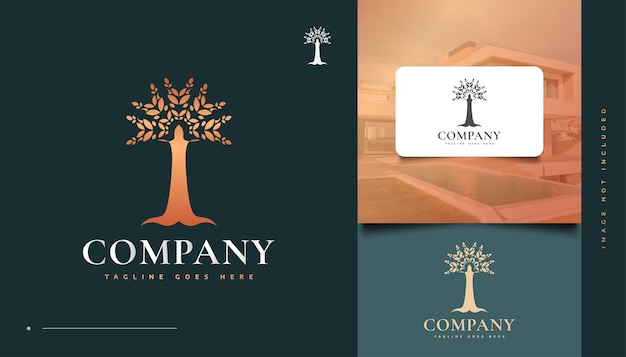 Stammbaum des lebens logo-design in goldenem farbverlauf