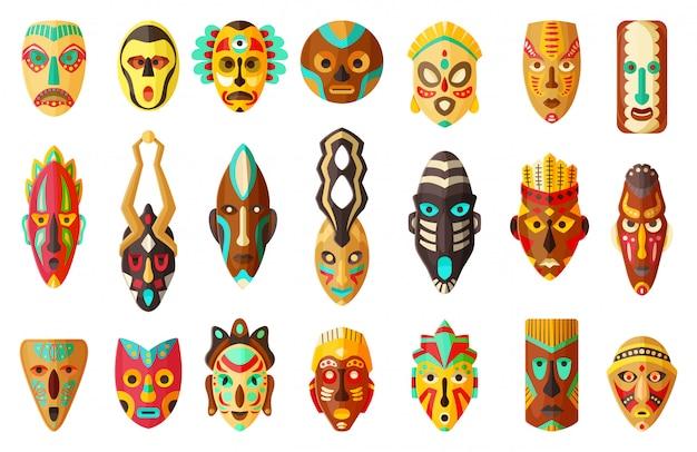 Stammes- afrikanische maskenkarikaturillustration