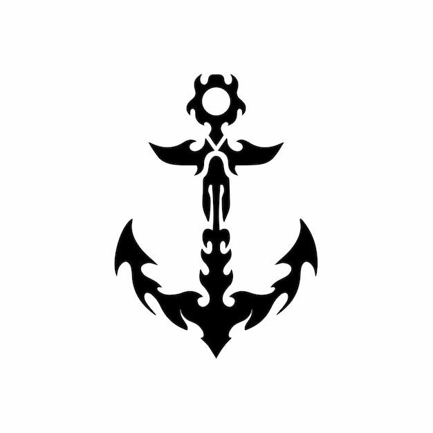Stammes-anker logo tattoo design schablone vektor illustration
