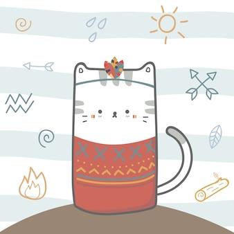Stammes- boho cartoon-gekritzeltier der niedlichen katze
