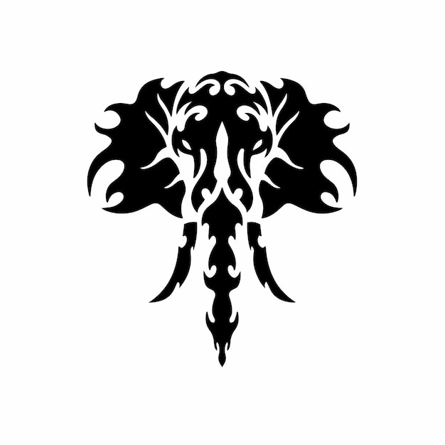 Stammes-elefant logo tattoo design schablone vektor illustration