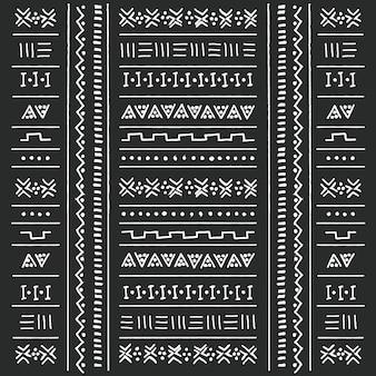 Stammes- ethnisches schwarzweiss-muster mit geometrischen elementen, traditioneller afrikanischer schlammstoff, stammes- design