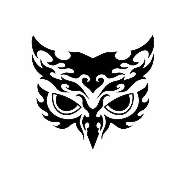 Stammes-eule logo tattoo design schablone vektor illustration