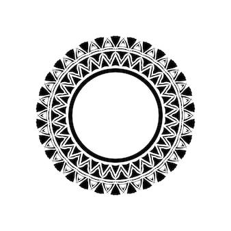 Stammes-geometrisches mandala-vektor-design, polynesisches hawaiianisches tattoo-stil-muster mit wellen, dreiecken und abstrakten formen