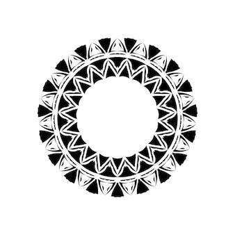 Stammes-geometrisches mandala-vektordesign, polynesisches hawaiisches tattoo-stilmuster mit wellen, dreiecken und abstrakten formen. boho-mandala-illustration in schwarz-weiß, hippie-rund-design