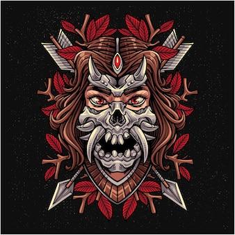 Stammes-mädchen-maskottchen-logo