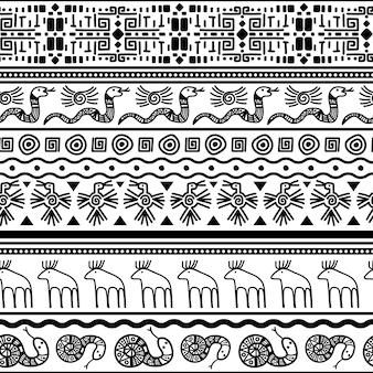 Stammes-mexikanischen nahtlose muster. vektorblumen- und -tiertextilmexiko oder afrikanischer modedruck