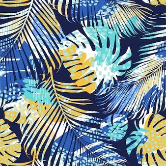 Stammes- nahtloses muster mit abstrakten blättern. hand zeichnen textur. vektor vorlage.
