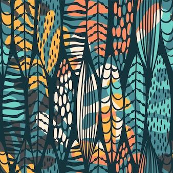 Stammes nahtloses muster mit abstrakten blättern. hand zeichnen textur.