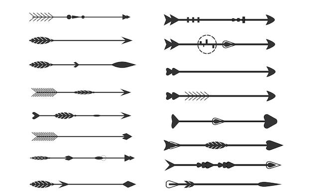 Stammes-pfeile auf weißem hintergrund aztekische boho-elemente retro arrowvector illustration