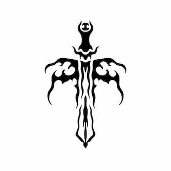 Stammes-schwert mit flügel-logo-tätowierungs-design-schablone-vektor-illustration