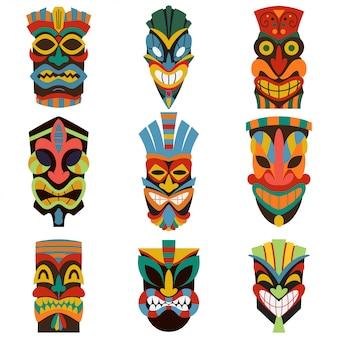 Stammes- tiki maskenvektorsatz lokalisiert auf weißem hintergrund.