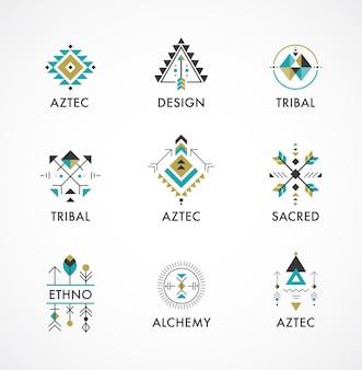 Stammes- und azteken, heilige geometrie, mystische formen