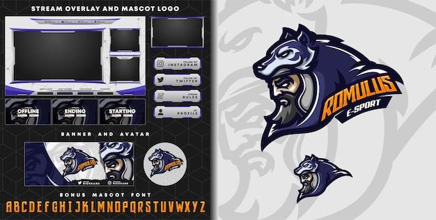 Stammes-wolfritter-maskottchen-logo und twitch-overlay-vorlage