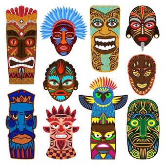 Stammesmaske, die ethnische kultur und aztekische gesichtsmaskenillustrationssatz des traditionellen eingeborenen maskierten symbols der aborigines maskiert, lokalisiert auf weißem hintergrund